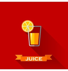 with a glass of juice in flat design style with vector image