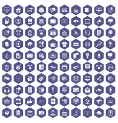 100 information technology icons hexagon purple vector