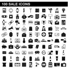 100 sale icons set simple style vector image vector image