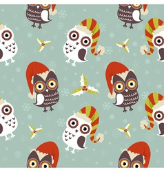 Cute christmas owl with presents seamless pattern vector