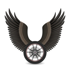 Wheel and wings vector