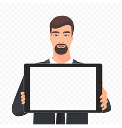 Bearded businessman showing the empty tablet pc vector