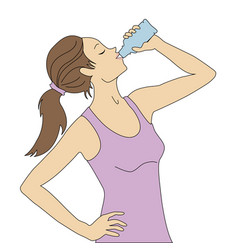 Girl drinks water vector