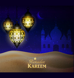 Hanging lanterns in the desert at night sky vector