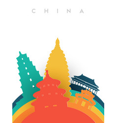 Travel china 3d paper cut world landmarks vector