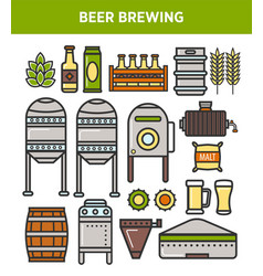 Beer brewery factory production technology vector