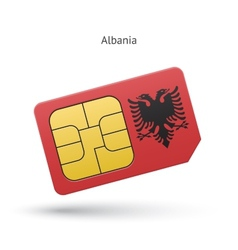 Albania mobile phone sim card with flag vector