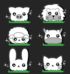 Wink little animal set vector