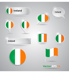Ireland icon set of flags vector
