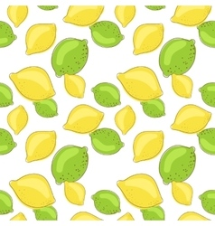 Green lemon and lime fruits on white background vector