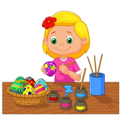 Cartoon girl painting easter egg vector