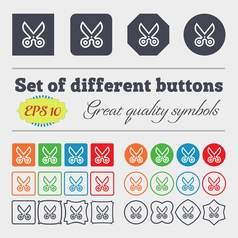 Scissors icon sign big set of colorful diverse vector