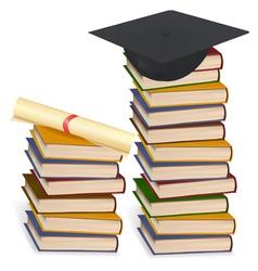 graduation cap and diploma lay vector image