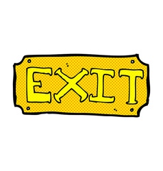 Comic cartoon exit sign vector