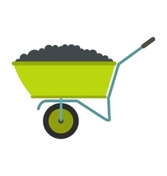 Wheelbarrow flat icon vector