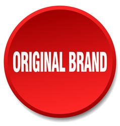 Original brand red round flat isolated push button vector