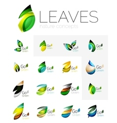 Abstract geometric leaves company logo collection vector