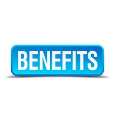 Benefits blue 3d realistic square isolated button vector