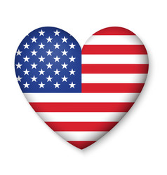 American united states flag in glossy heart button vector