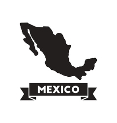 Flat icon in black and white map of Mexico vector image