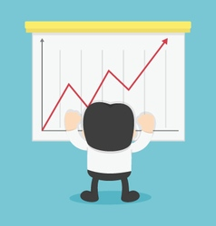 Happy businessman winner with red growth graph arr vector