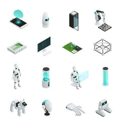 artificial intelligence isometric icon set vector image