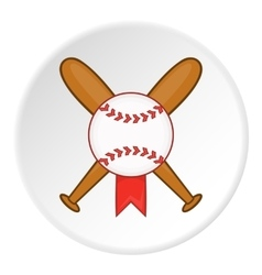 Baseball bat and ball icon cartoon style vector image