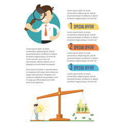 Business infographics banner with businessmen vector