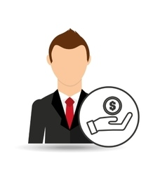 businessman character hand hold money coin vector image vector image