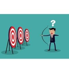 Cartoon businessman with bow and arrow vector image