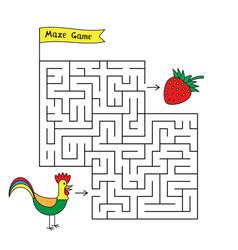 Cartoon rooster maze game vector