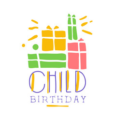 Child birthday promo sign childrens party vector