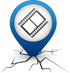 Cinema blue icon in crack vector