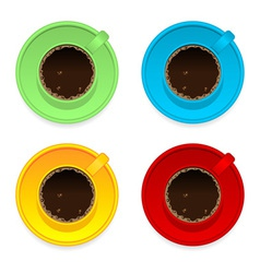 Colorful coffee cups vector image vector image
