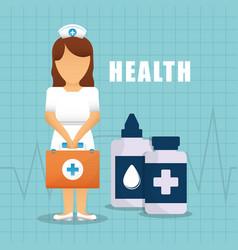 healthy nurse suitcase bottle medicine vector image