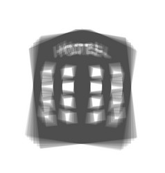 Hotel sign gray icon shaked at white vector