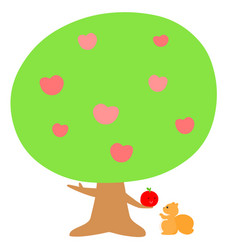 Love tree give fruit to squirrel xa vector