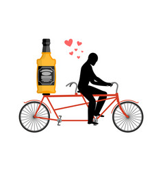 lover drink alcohol bottle of whiskey on bike man vector image vector image