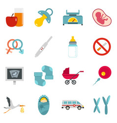 Pregnancy symbols icons set in flat style vector