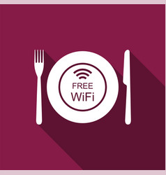 Restaurant free wi-fi zone plate fork and knife vector