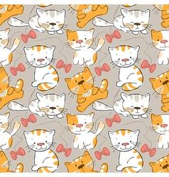 seamless pattern -funny cartoon kitten vector image