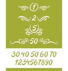 Set of numbers written by a brush with decor vector image