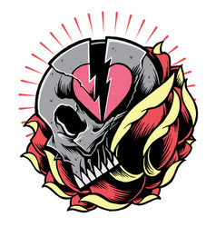 skull and broken heart symbol with rose vector image