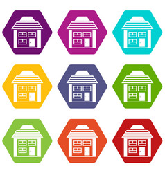two-storey house with sloping roof icon set color vector image