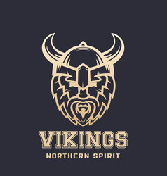 vikings logo bearded warrior in horned helmet vector image