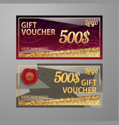 Voucher template with premium vintage pattern vector