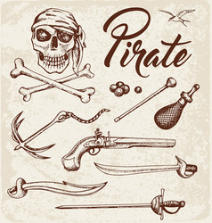 weapons of pirates vector image vector image