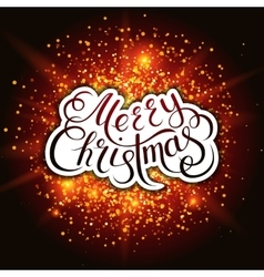 Merry christmas snowflakes and fireworks effect vector