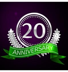 Twenty years anniversary celebration with silver vector