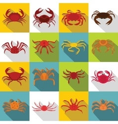 Various crab icons set flat style vector image